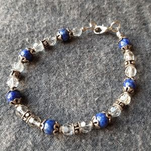 Jewelry - Lapis, Crystal, and Sterling silver bracelet